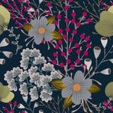 Bloemen naadloos patroon Hand getrokken creatieve bloem Kleurrijke artistieke achtergrond met bloesem Abstract kruid royalty-vrije illustratie