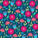 Bloemen naadloos patroon Hand getrokken creatieve bloemen Kleurrijke artistieke achtergrond met bloesem Abstract kruid stock illustratie