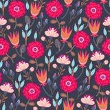 Bloemen naadloos patroon Hand getrokken creatieve bloemen Kleurrijke artistieke achtergrond met bloesem Abstract kruid vector illustratie