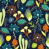 Bloemen naadloos patroon Hand getrokken creatieve bloemen Kleurrijke artistieke achtergrond met bloesem Abstract kruid royalty-vrije illustratie