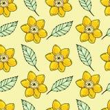 Bloemen naadloos patroon Hand getrokken illustratie beeldverhaalillustratie voor kaartontwerp, stof en behang royalty-vrije illustratie