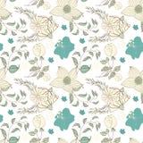 Bloemen naadloos patroon Hand getrokken uitstekende bloemen en bladeren Vector bloemenreeks royalty-vrije illustratie