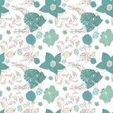 Bloemen naadloos patroon Hand getrokken uitstekende bloemen en bladeren royalty-vrije illustratie