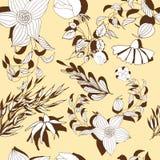 Bloemen naadloos patroon Hand getrokken uitstekende bloemen en bladeren Vector botanische reeks stock illustratie