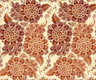 Bloemen naadloos patroon in Indische mehndistijl Stock Fotografie