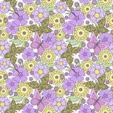 Bloemen naadloos patroon, leuke beeldverhaalbloemen met vlinders lichte achtergrond stock illustratie