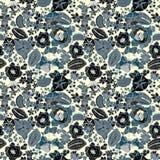 Bloemen naadloos patroon met abstracte bladeren, bloemen, petunia en madeliefjes stock illustratie