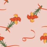 Bloemen naadloos patroon met anjer Stock Foto