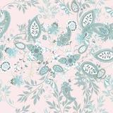 Bloemen naadloos patroon met blauw etnisch ornament en bloemen stock illustratie