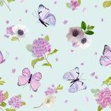 Bloemen Naadloos Patroon met Bloeiende Hydrangea hortensiabloemen en Vliegende Vlinders in Waterverfstijl Schoonheid in aard Acht Stock Afbeeldingen