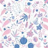 Bloemen naadloos patroon met bloemen en installaties op witte achtergrond Tropische vectorillustratie stock illustratie