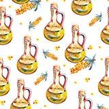 Bloemen naadloos patroon met duindoorn en takken Waterverfhand getrokken illustratie Stock Afbeeldingen