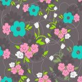 Bloemen naadloos patroon met eenvoudige bloemen. Stock Foto's