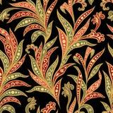 Bloemen naadloos patroon met bloemen en bladeren over zwarte backgound Stock Foto's