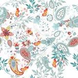 Bloemen naadloos patroon met etnisch ornament en bloemen stock illustratie