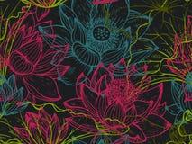 Bloemen naadloos patroon met hand getrokken lotusbloembloemen en bladeren Royalty-vrije Stock Afbeelding