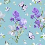 Bloemen Naadloos Patroon met Iris Flowers Royalty-vrije Stock Afbeeldingen
