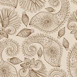 Bloemen naadloos patroon met krabbelbloemen en Paisley Royalty-vrije Stock Afbeelding