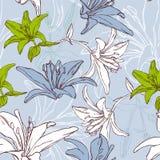 Bloemen naadloos patroon met lelie Stock Foto