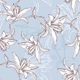 Bloemen naadloos patroon met lelie Stock Foto's