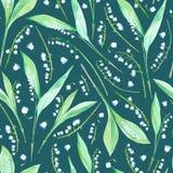 Bloemen naadloos patroon met lelietje-van-dalenbloemen Royalty-vrije Stock Afbeelding