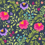 Bloemen naadloos patroon met mooie roze bloemen Forest Design Exotische bloemen, bessen en bladeren patroon voor vector illustratie