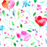 Bloemen naadloos patroon met papaverbloemen, klokje, lavendel, korenbloem, kamille en madeliefje vector illustratie