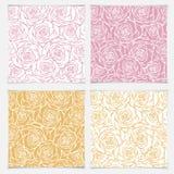 Bloemen naadloos patroon met rozen De vectorrozen overhandigen getrokken patt Royalty-vrije Stock Afbeeldingen