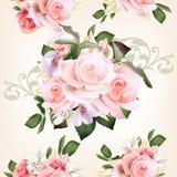 Bloemen naadloos patroon met rozen en bloemen royalty-vrije illustratie