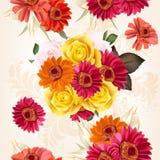 Bloemen naadloos patroon met rozen en bloemen vector illustratie