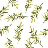 Bloemen naadloos patroon met takken van laurier voor textieldruk Stock Foto's