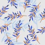 Bloemen naadloos patroon met takken voor textieldruk Stock Afbeeldingen