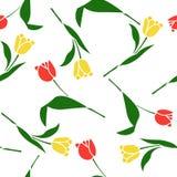 Bloemen naadloos patroon met tulpen Stock Afbeelding