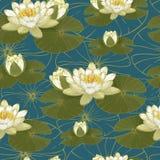 Bloemen naadloos patroon met waterlelies Stock Afbeeldingen