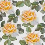Bloemen naadloos patroon met waterverf gele rozen Stock Foto