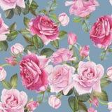 Bloemen naadloos patroon met waterverf roze rozen Stock Afbeeldingen