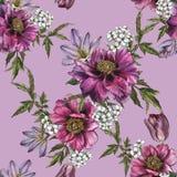 Bloemen naadloos patroon met waterverfpioenen, jasmijn en tulpen Royalty-vrije Stock Foto's