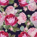 Bloemen naadloos patroon met waterverfrozen Royalty-vrije Stock Afbeeldingen