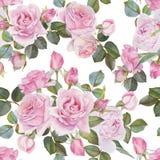 Bloemen naadloos patroon met waterverfrozen Stock Foto