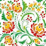 Bloemen naadloos patroon met wervelingen Stock Foto's