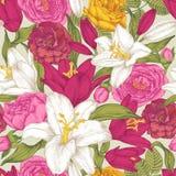 Bloemen naadloos patroon met witte en purpere lelies, roze, karmozijnrode en gele rozen Stock Afbeelding