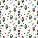 Bloemen naadloos patroon op een witte achtergrond stock illustratie