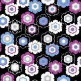 Bloemen naadloos patroon op zwarte achtergrond Royalty-vrije Stock Afbeeldingen