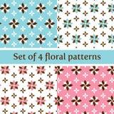 Bloemen Naadloos Patroon in Pastelkleurroze en Blauw stock foto