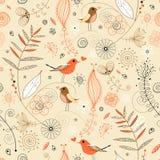 Bloemen naadloos patroon in retro stijl Royalty-vrije Stock Afbeelding