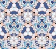 Bloemen naadloos patroon Samengesteld uit kleuren abstracte die vormen op witte achtergrond worden gevestigd Stock Fotografie