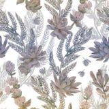 Bloemen naadloos patroon Succulents, varens, doornen Stock Foto's