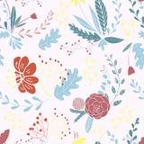 Bloemen naadloos patroon ter beschikking getrokken ontwerp royalty-vrije illustratie
