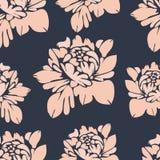 Bloemen, naadloos patroon Uitstekende bloemenachtergrond Beige knoppen op een blauw Voor het stoffenontwerp, behang, omslag Stock Foto