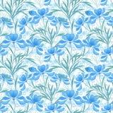 Bloemen naadloos patroon, witte achtergrond van beeldverhaal de leuke lichtblauwe bloemen Stock Fotografie
